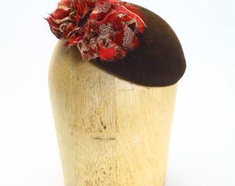 Brown Velour Fur Felt Fascinator Cocktail Hat with Wine Silk Chiffon Paisley Detail- Millinery/Couture/KateMiddleton/Wedding