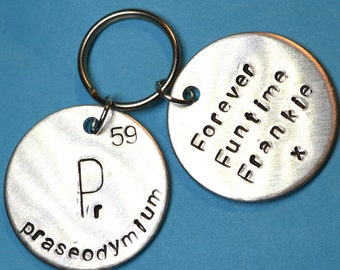 Periodic table couples keychain hand stamped personalized periodic table gift quirky unique gift customised physics science element urtaz Images