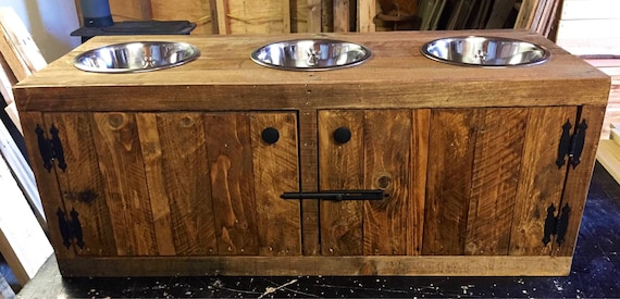 Dog Feeding Station With Cabinet Pallet Dog Feeder Three