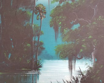 Original Painting Florida Landscape Art Tropical Painting Palm Tree painting Impressionism Small Moonlight River Palms
