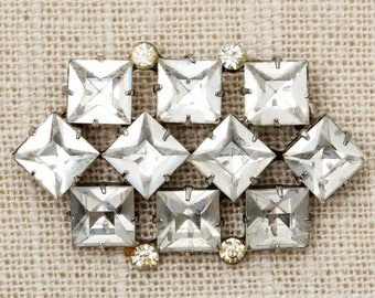 Geo Rhinestone Brooch Vintage Silver Squares Abstract Broach Costume Jewelry Pin 6Y