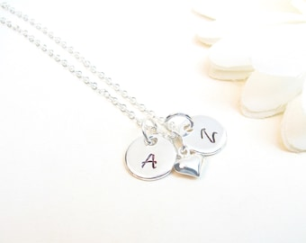 Personalized Silver Necklace - Two Initials Necklace - Necklace with 2 Discs - Mother's Day Gift - Gift for Mom Grandma Mimi Wife Nana Mimi