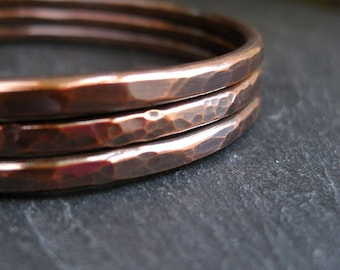 Copper bangles, hammered bracelet set for women, copper wedding anniversary gift for wife, ladies jewelry, oval or round shape, arthritis