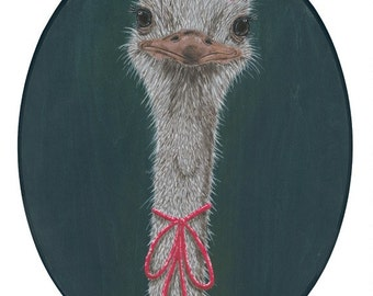 Lady Ostrich giclee art print 5x7