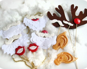 Super Christmas Photobooth Set on sticks - Perfect Holiday Photo Booth Props set of 12