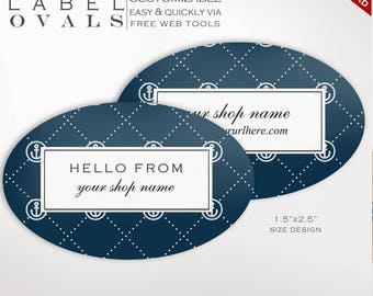 Printable Oval Labels - Nautical Oval Label Template Kit - Labels Printable Editable Template Oval Avery Silhouette cricut LBOL AAC