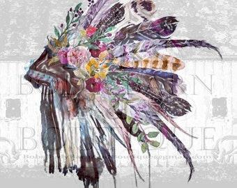 Colorful Native American Headdress Sublimation Digital Design