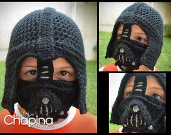 PATTERN Darth Vader Crochet Hat for Children (Not the Physical Hat - No es el gorro terminado)