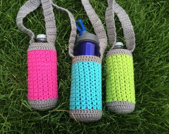 Crochet Water Bottle Holder, Neon and Grey, Water Bottle Pouch, Hiking Buddy, Water Pocket