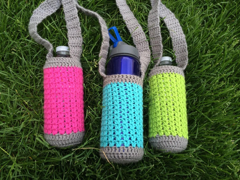 Crochet water bottle holder neon and grey water bottle zoom dt1010fo