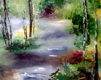 Small stream in the wood painting has oil knife