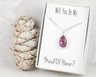 Amethyst Silver Teardrop Necklace, Plum Bridesmaid Necklace, Purple Necklace, Bridesmaid Jewelry, Bridesmaid Gift, Wedding Jewelry