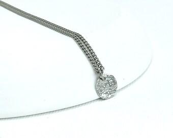 Titanium Necklace Tiny Disc, Niobium Circle Disk Necklace, Modern Hypoallergenic Niobium and Titanium Necklace for Sensitive Skin