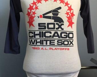 80s Vintage Chicago White Sox 1983 American League Playoffs AL mlb baseball raglan T-Shirt - MEDIUM