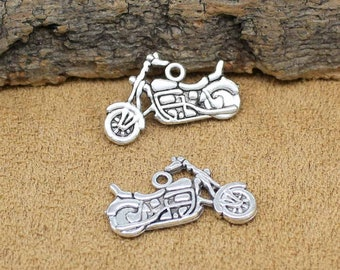 25pcs Antique Silver Motorcycle Charms Pendant 2 Sided 25x14mm C2069-Y