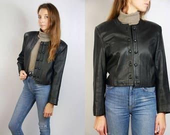 80s Leather Jacket / Cropped Leather Jacket / Cropped Jacket Black / Black Leather Jacket / 80s Jacket Black / Vintage Leather Jacket / 80s
