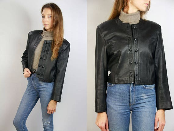 80s Leather Jacket / Cropped Leather Jacket / Cropped Jacket Black / Black Leather Jacket / 80s Jacket Black / Vintage Leather Jacket / 80s