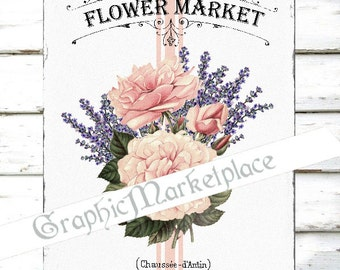 Flower Market Roses Lavender Grain Sack Large Image Instant Download Vintage Transfer Towels digital collage sheet printable No. 1877
