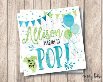 Personalized Printable Ready To Pop Tags, Printable Baby Boy Shower Tags, Printable Baby Shower Tags, Ready to Pop Balloons