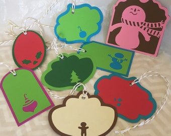 Christmas Gift Tags • Assorted • Set of 8 • Bright Colors • with twine