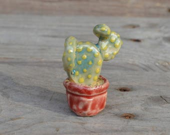 Cactus in a red vase miniature - Home Decor