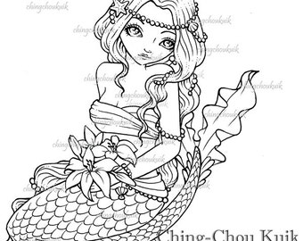 Lilies Commitment - Digital Digi Stamp Instant Download / Mermaid Bride Fantasy Art by Ching-Chou Kuik
