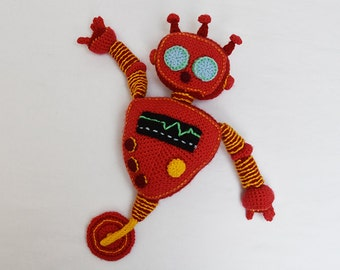 Red Robot Crochet Pattern - Robot Amigurumi Pattern - Crochet Robot Pattern - Robot Toy Pattern - Amigurumi Crochet Pattern - no.180