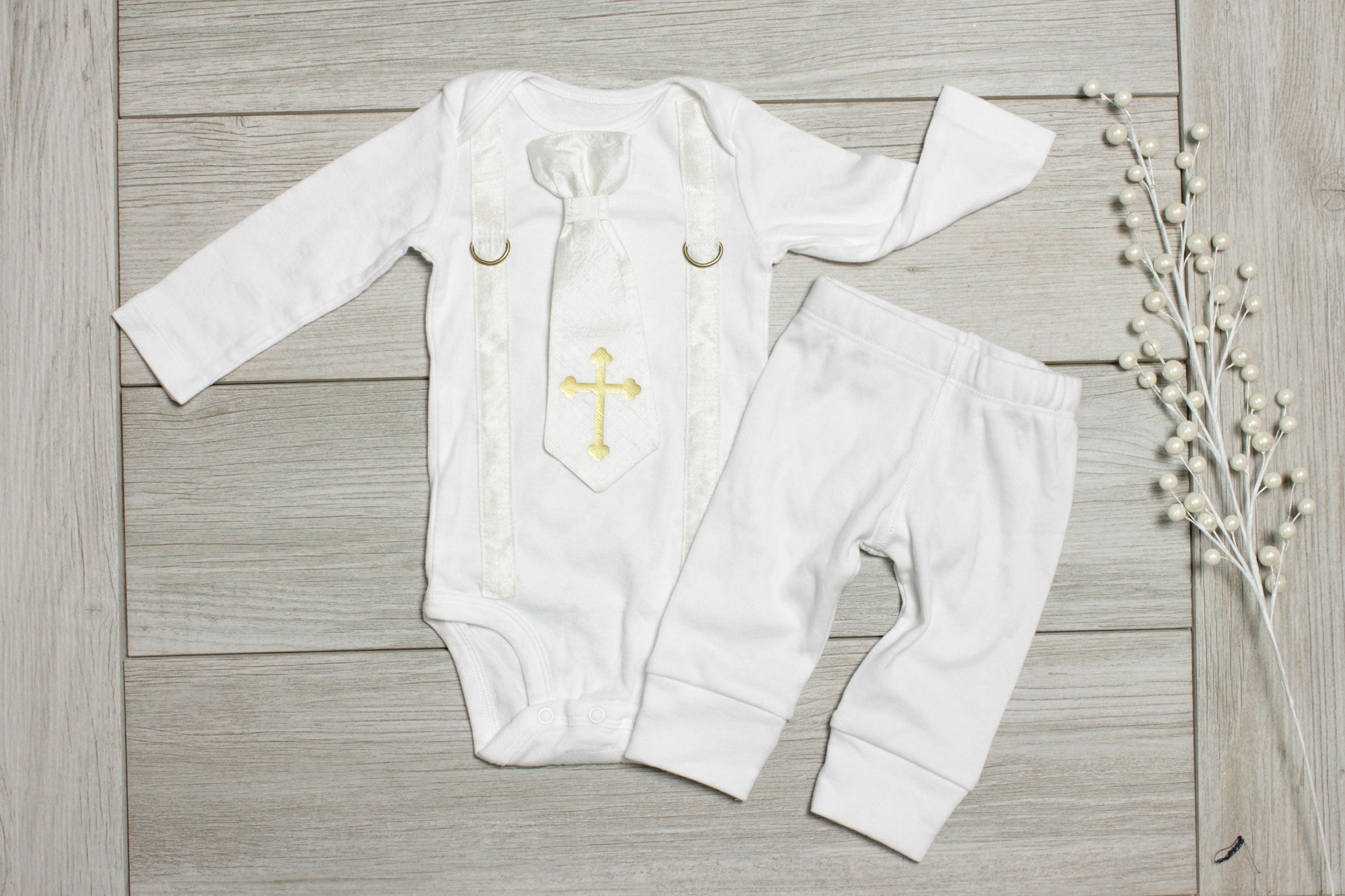 Baby Boy Silk Baptism Christening Outfit All white and gold