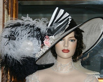 Kentucky Derby Hat Edwardian Ascot Hat Downton Abbey Hat Titanic Hat Women's Black & White Hat Wide Brim Hat Womens - Fair Lady