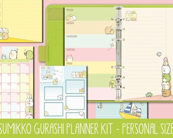 Sumikko Gurashi Planner Kit Filofax personal size, week on two pages, week on one page, to do list, monthly view, notes, printable planner