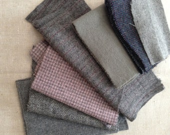 Shades of gray Wool scraps for crafting, appliqué, stuffed animals, remnant wool, up-cycled wool, thrift store wool scraps, pure wool