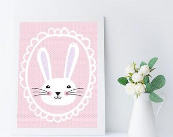 bunny printable - nursery art girl - animal nursery wall art - baby girl nursery decor - girls room wall art - bunny print - pink decor