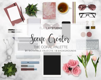 New! MOCKUP SCENE CREATOR / 36 Items / The Coral Palette / Flat Lay Minimalist Styled Stock Photo