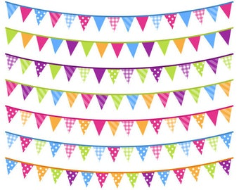 Bright Bunting Clip Art, Digital Colorful Banner Flags, Rainbow Bunting Clipart, Commercial Use, Instant Download