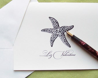 Personalized Note Cards, Starfish Nautical NoteCards Ocean Beach Sea Stationery Stationary Ivory Set 10 Hostess Gift Beach Cottage Chic