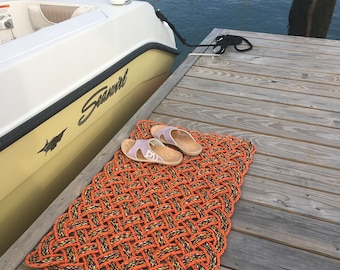Maine rope rug, Upcycled lobster rope, Maine made, Nautical outdoor mat, Orange doormat, Vibrant floor decor