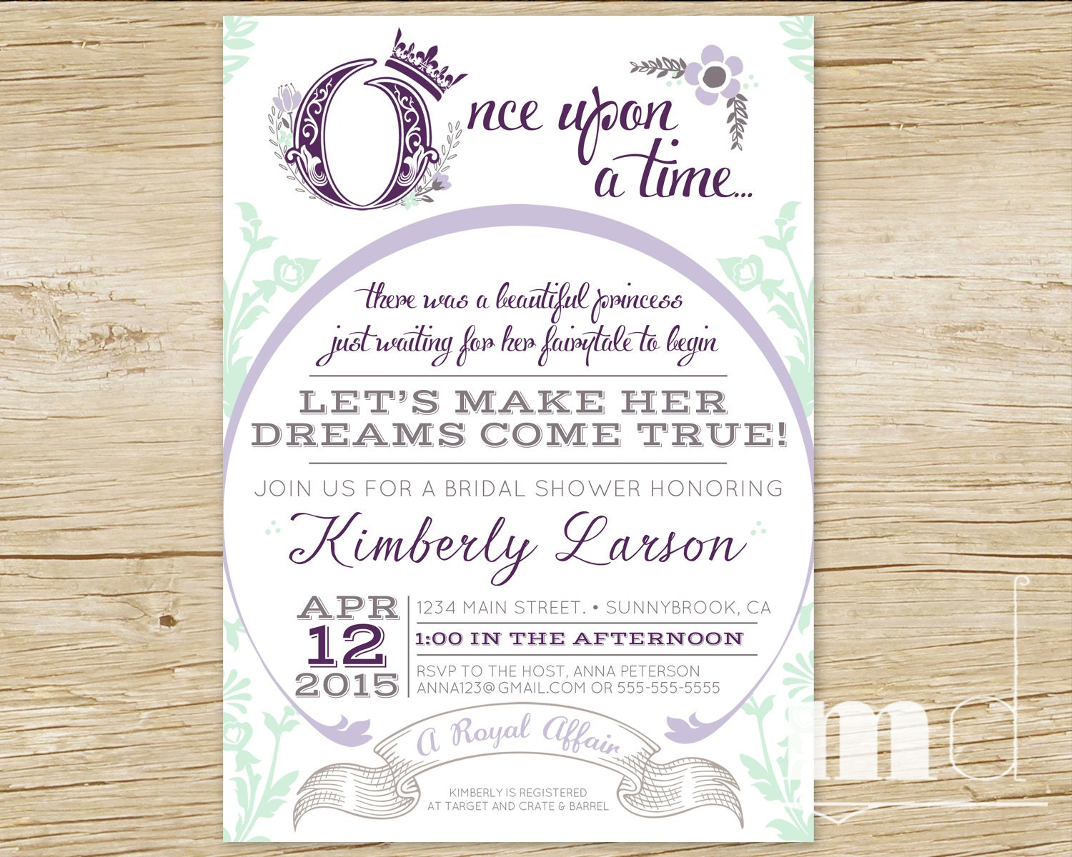 Once Upon A Time Bridal Shower Invitation Fairytale Bridal