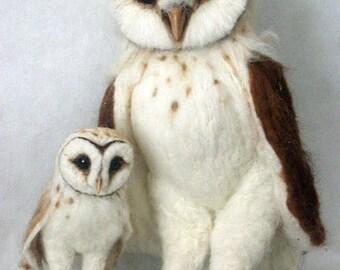 Made to Order -Needle Felted Life Sized Barn Owl & Baby OOAK handmade whimsical wildlife fantasy  sculpture ornament  Bird figurine