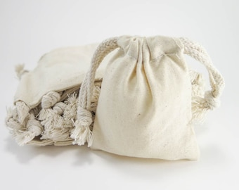 Small Muslin Bags | 25 Cotton Muslin Bags Pouches (3 by 4 inch) Gift Bags | Unbleached Muslin Favor Bags, Cotton Pouches, EcoFriendly