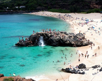 Famous Jump Rock at Waimea Bay on the North Shore of Oahu in Hawaii  photo picture fine art metal print