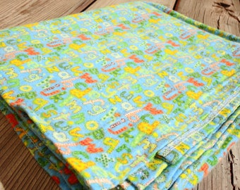 Receiving Blanket, Flannel Baby Blanket - Alphabet