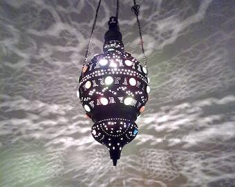 BR42 Antique Style Handmade Egyptian Brass Pendant Sphere Lamp