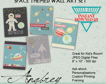 Space Themed Wall Art Set, Instant Download