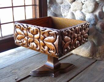Vintage Wood Pedestal Bowl, Compote, Fruit Dish, Hand Made, Rustic, Folk Art, Cottage Chic
