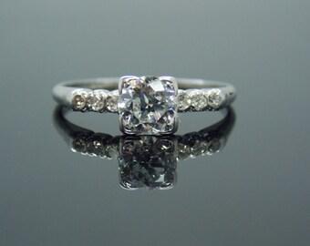Platinum Simple Art Deco Diamond Engagement Ring Vintage Estate Antique RGDI68
