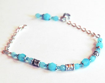 Milky Aquamarine Blue Beaded Bohemian Charm Bracelet, Fine Quality Czech Glass Beads, Silver  Accents, Summer Jewelry for Ankle or Wrist