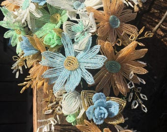 Gold Champagne, Pastel Blue, Green and White Daisy French Beaded Flower Bouquet