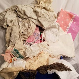 Huge LOT of vintage linens, antique clothing, misc, 25+ pieces