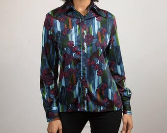 Vintage Floral Blouse - Women's / Ladies Long Sleeve Shirt with Pointed Collar and Flower Pattern - Lansea co-ordinated for Pant-man Top