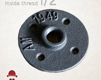 1/2 inch Floor Flange, Industrial, Steampunk, Rustic, DIY parts, 1/2 inch